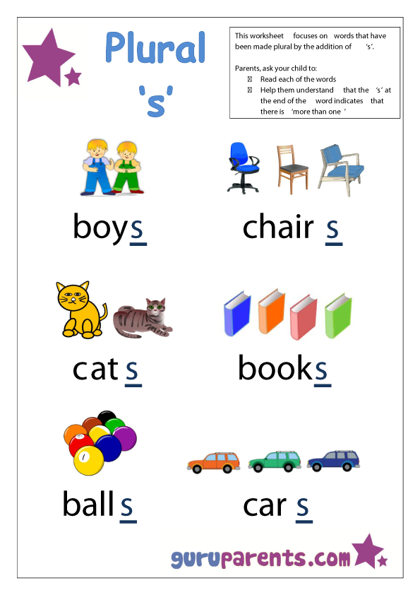 Preschool Letter Worksheet - plural 's'