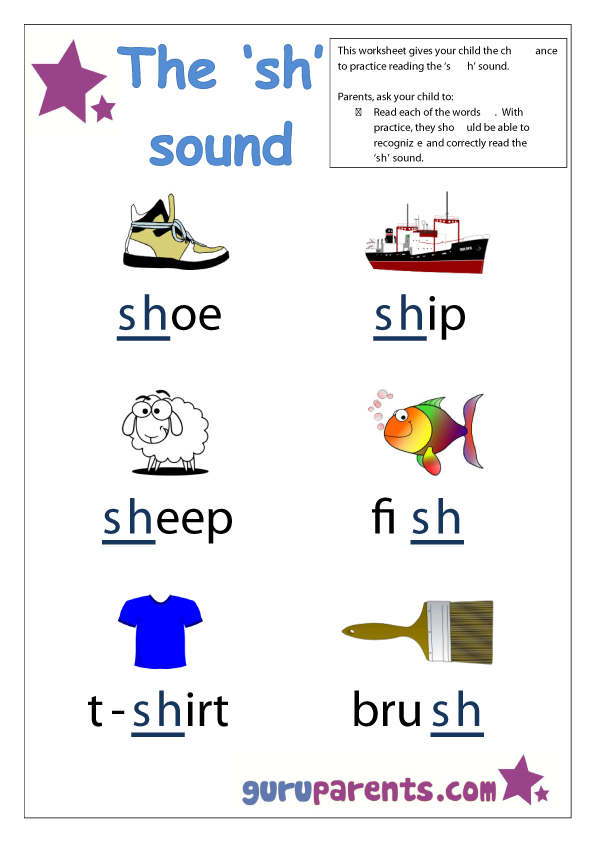 Word Beginning Sounds Worksheet - sh sound
