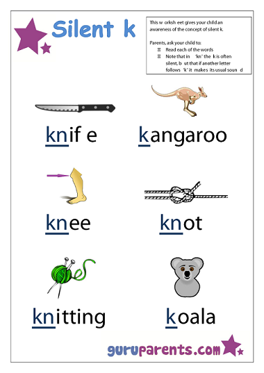 Preschool Letter Worksheet - Silent 'k;