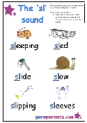Preschool Letter Worksheet - sl sound
