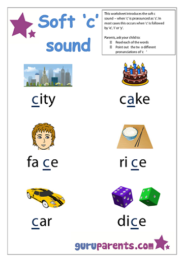 Preschool Letter Worksheet - soft c sound