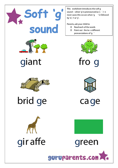 Preschool Letter Worksheet - soft g sound