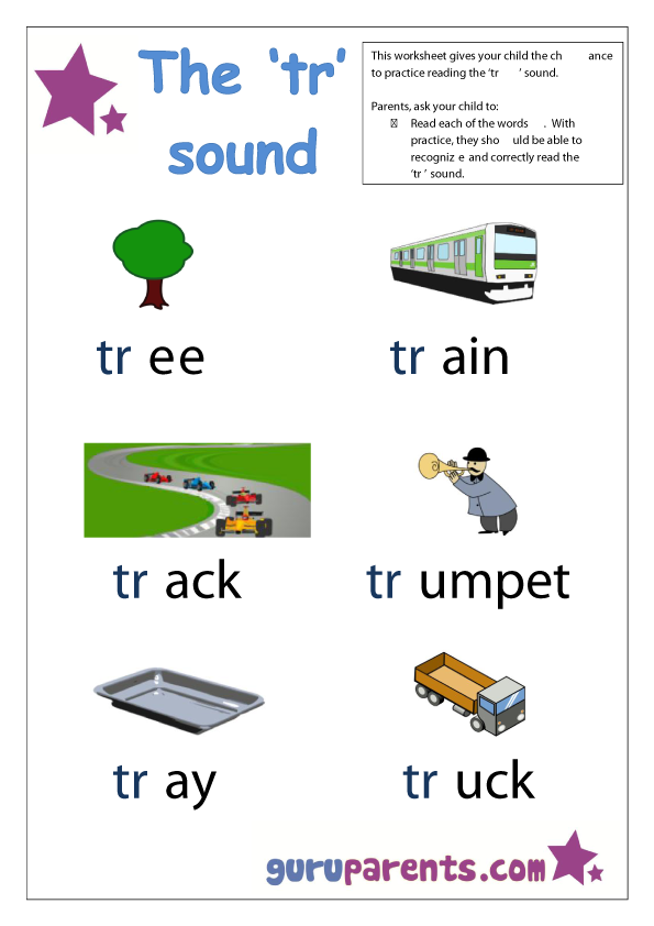 Word Beginning Sounds Worksheet - tr sound