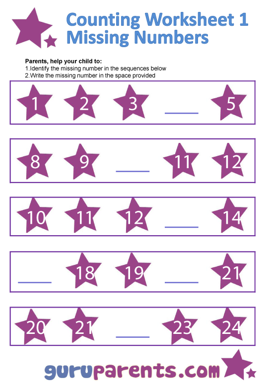 Number Line Charts – Printable Number Worksheets for Kindergarten