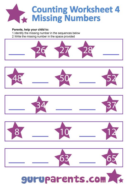 Number Line Charts – Find the Missing Number Worksheet