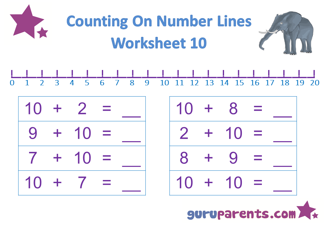 Preschool Math Number Line Worksheet 10