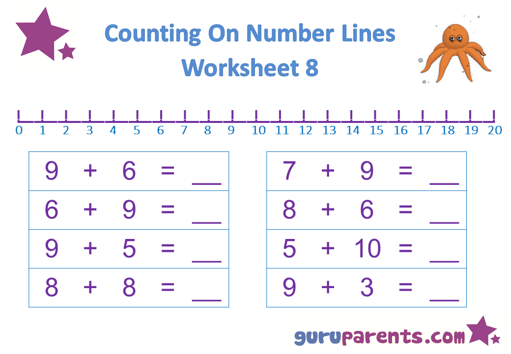 Preschool Math Number Line Worksheet 8