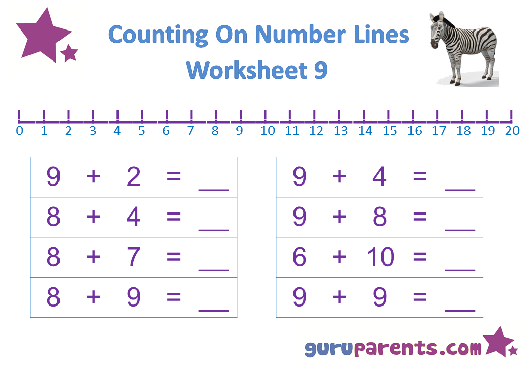 Preschool Math Number Line Worksheet 9