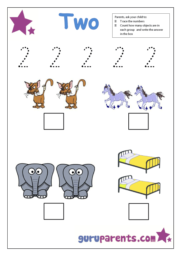 preschool number 2 worksheet