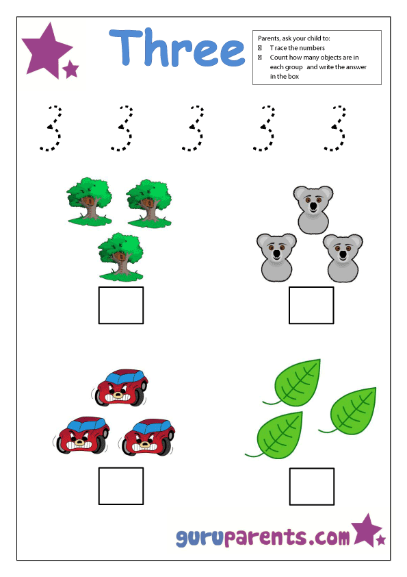 preschool number 3 worksheet