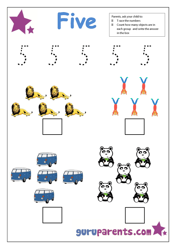 preschool number 5 worksheet