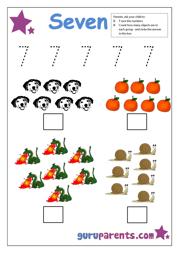 preschool number 7 worksheet