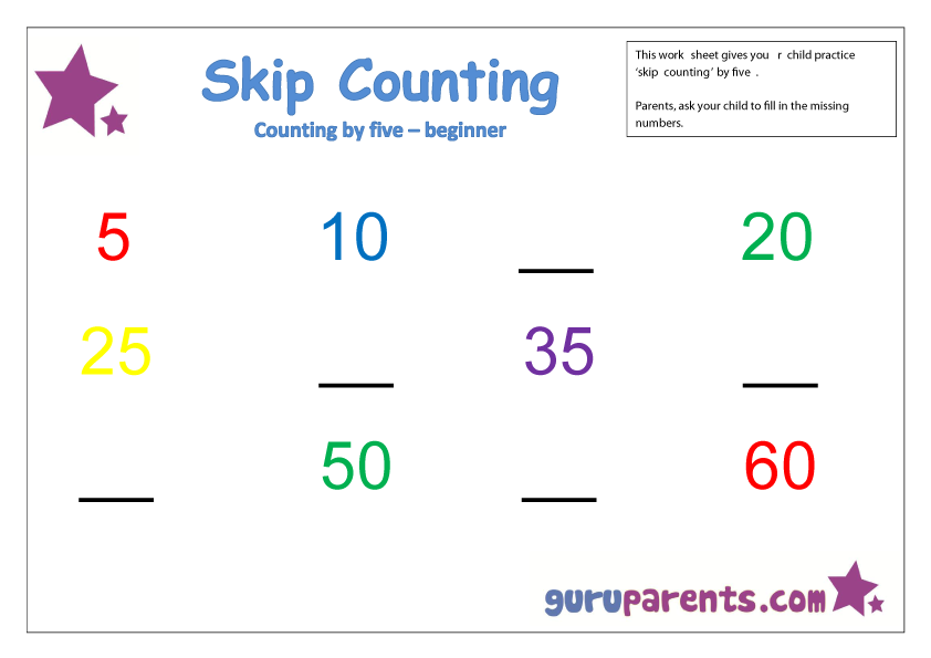 Skip Counting by five beginner