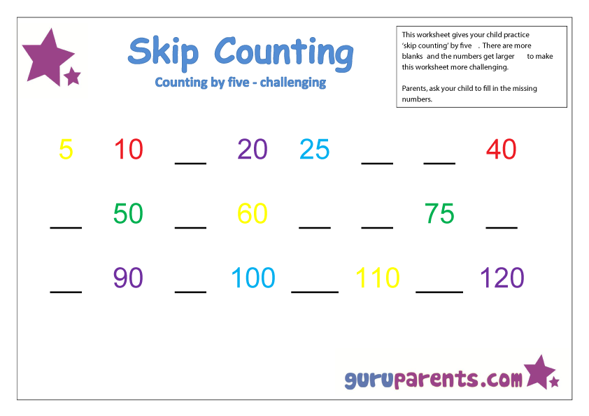 Skip Counting – Counting by 5s Worksheet