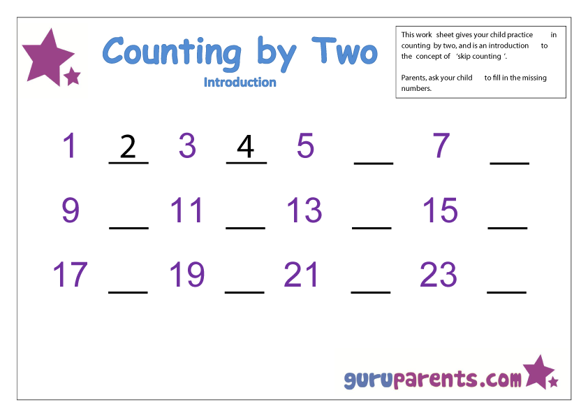 Printable Worksheets worksheets counting to 20 : Skip Counting | guruparents