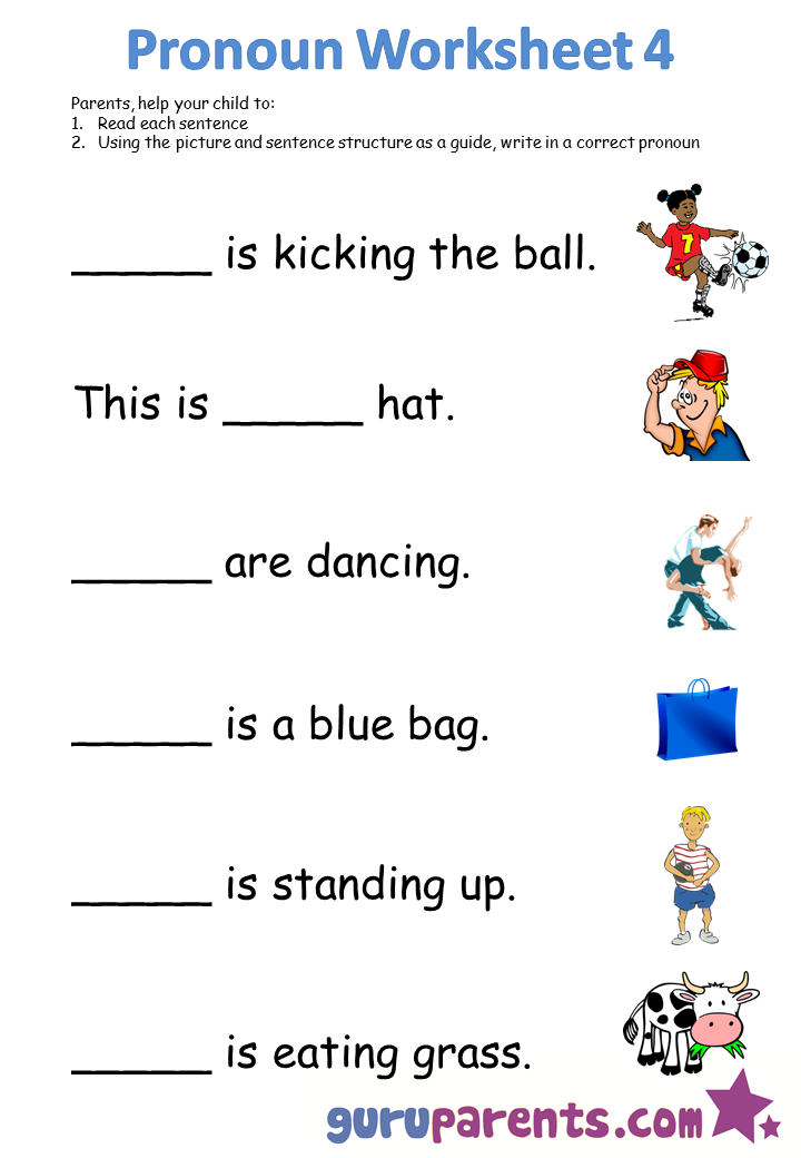 Free Worksheets free worksheets for lkg : Pronoun Worksheets | guruparents