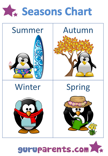 Seasons Chart penguins Southern Hemisphere