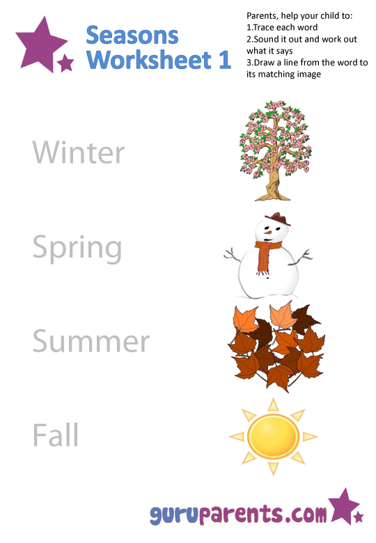Seasons Worksheets – Seasons Worksheets for Kindergarten
