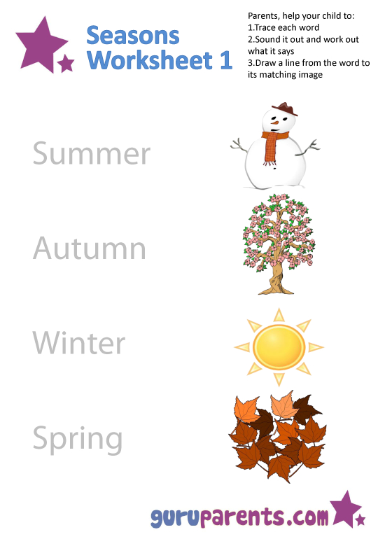 Seasons Worksheet 1