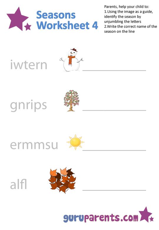 Seasons Worksheets | guruparents