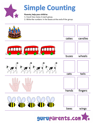 simple-counting-worksheet-1 Counting Worksheets With Objects on for pre, numbers classroom, free printable, writing numbers,