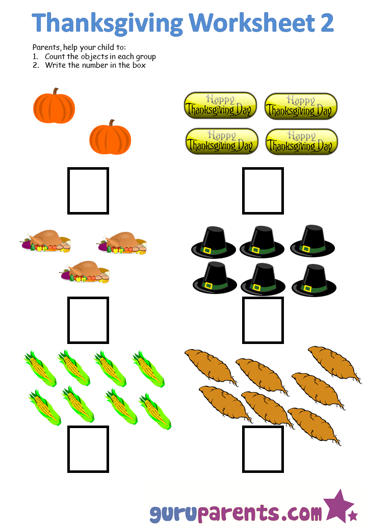 Thanksgiving worksheet 2