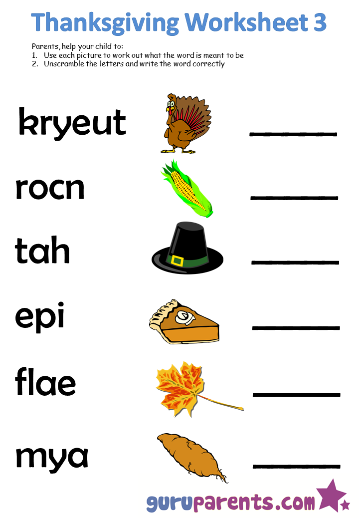 Thanksgiving worksheet 3