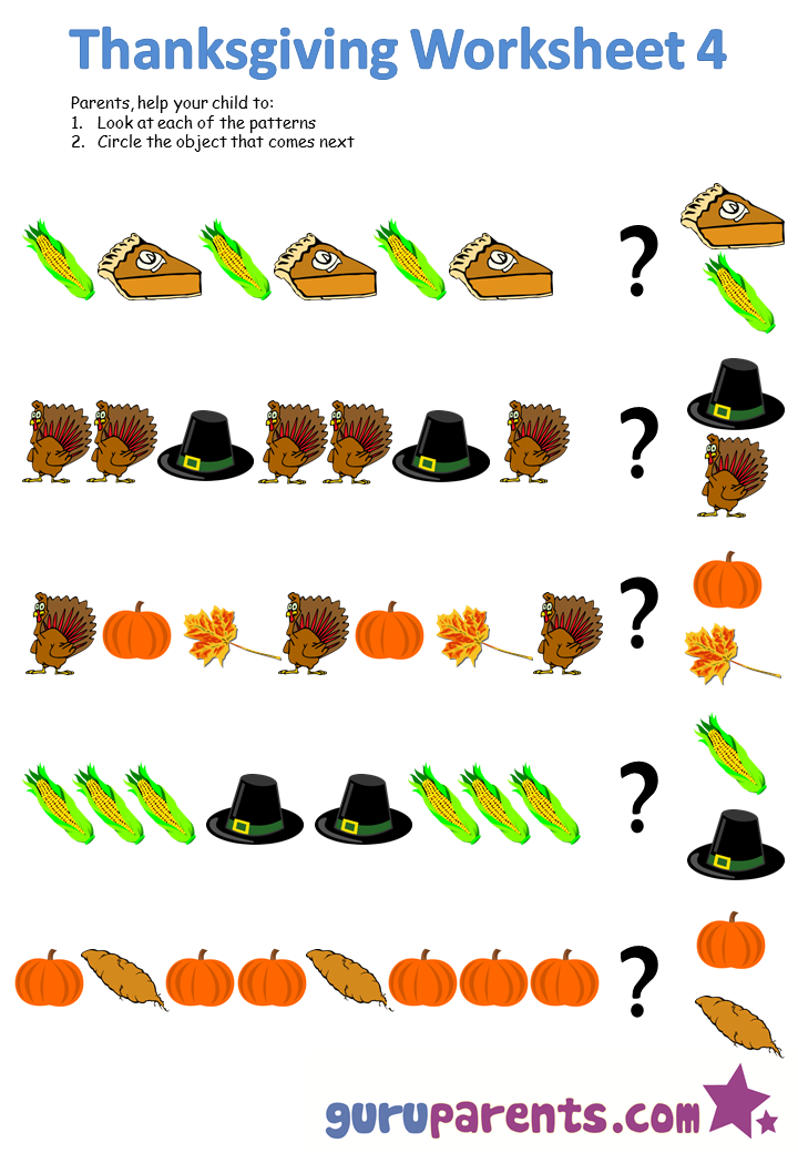 Thanksgiving Worksheets Guruparents
