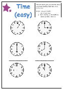 Telling the time worksheet - Analog clock (easy)