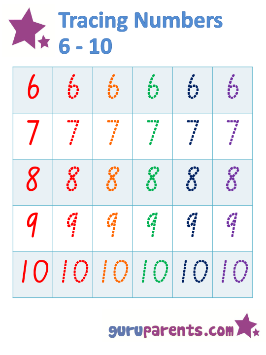 Tracing Numbers 6-10 Worksheet