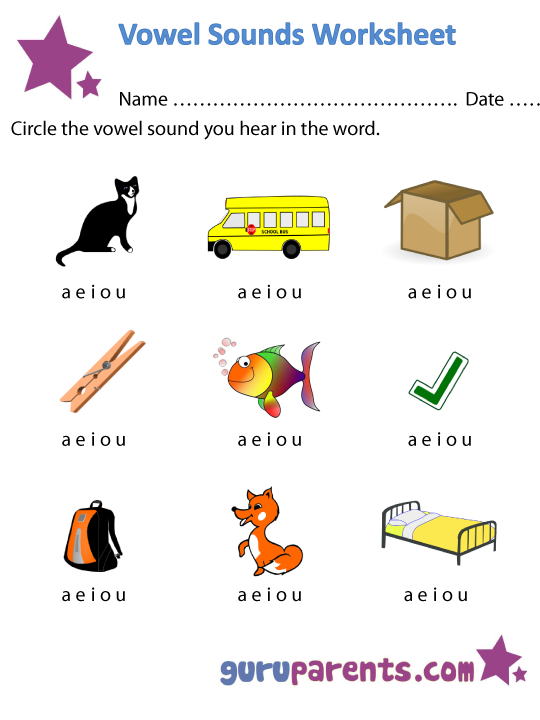 Vowel Sounds Worksheet 1