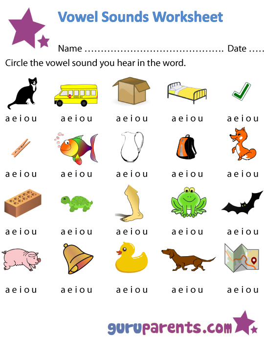 1st grade, Kindergarten, Preschool Reading Worksheets: Vowel ...