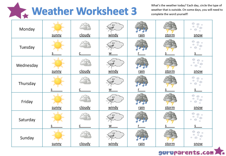 Weather Worksheet 3