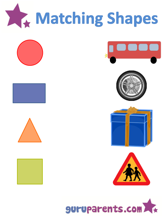 teaching shapes worksheet - matching