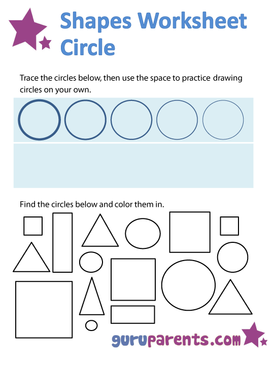 shapes worksheets - circle