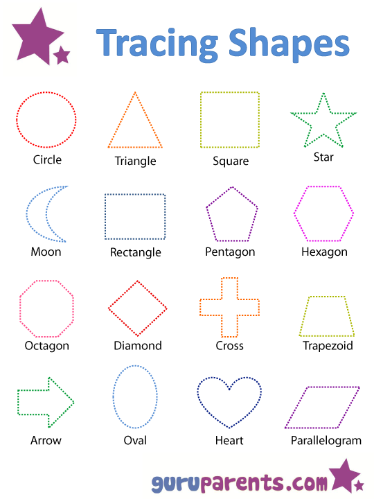 graphic relating to Printable Shapes for Preschoolers identified as Designs Worksheets and Flashcards guruparents