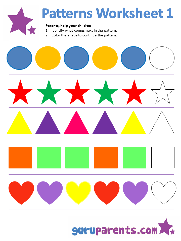 Printables Preschool Pattern Worksheets pattern worksheets guruparents patterns worksheet 1