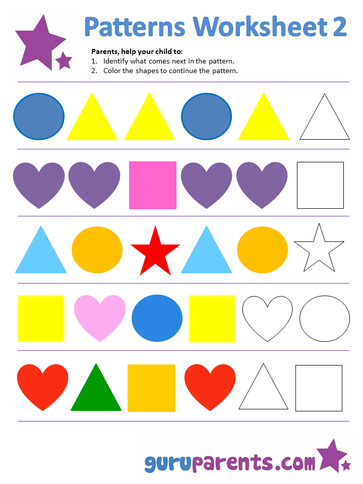 Printables Pattern Worksheets pattern worksheets guruparents patterns worksheet 2