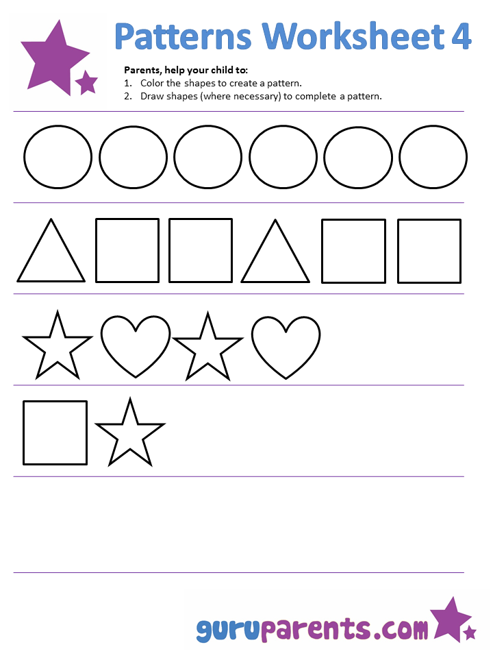 Color pattern worksheets free