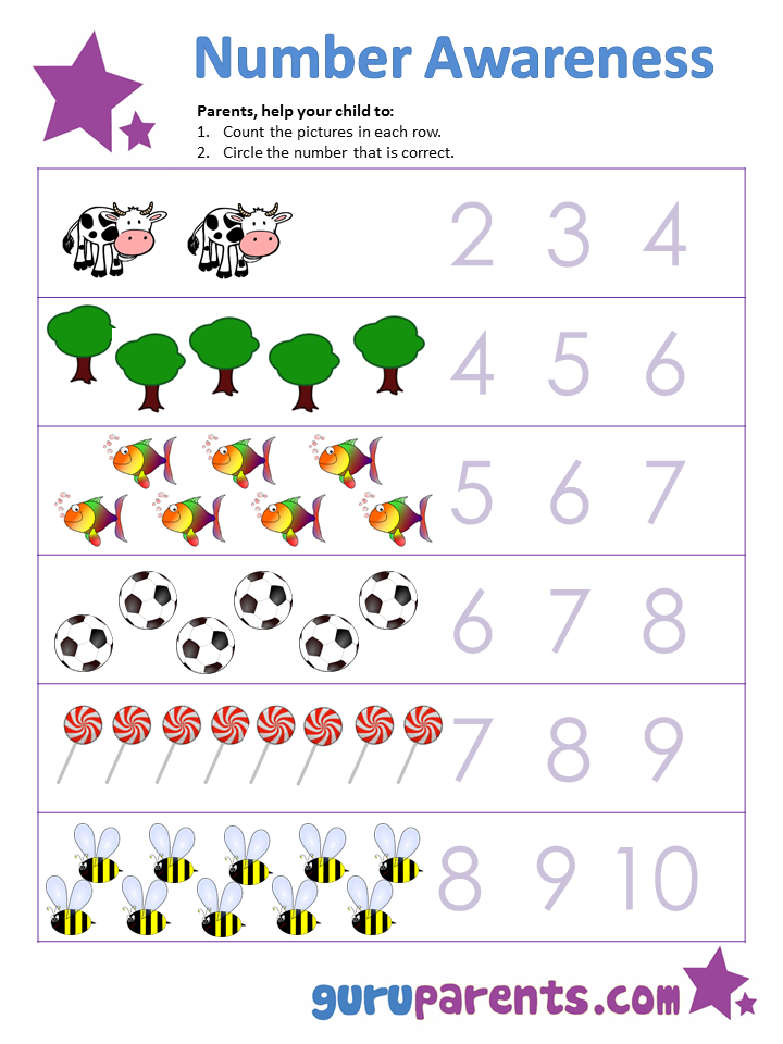 Printable Worksheets kindergarten number worksheets 1-10 : Building Number Awareness | guruparents