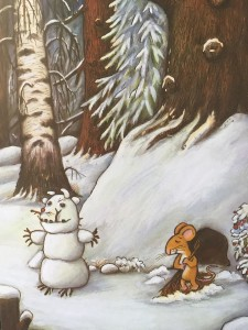 I love how this snowman is actually a gruffalo